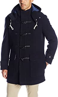 Men's Boiled Wool Toggle Duffle Coat with Removable Hood and Rib Knit Interior Collar