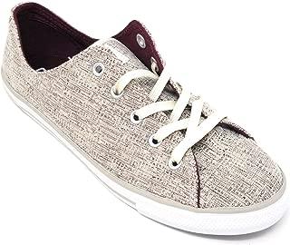Converse Company Women Name CTAS Dainty Sparkle Knit Ox Color Deep Bordeaux/Buff/White Size 7