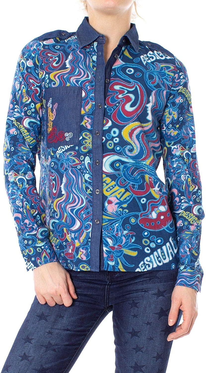 Desigual Women's 19SWCW93blueE bluee Cotton Shirt