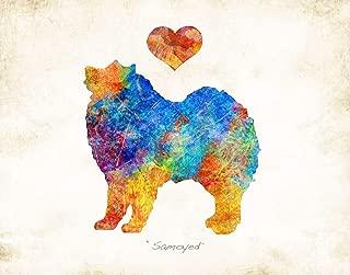 SAMOYED Dog Breed Watercolor Art Print by Dan Morris
