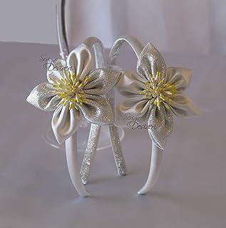 Cerchietto fascinator argento con fiore kanzashi