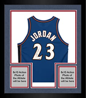 Framed Michael Jordan Washington Wizards Autographed Blue Jersey - Upper Deck - Fanatics Authentic Certified