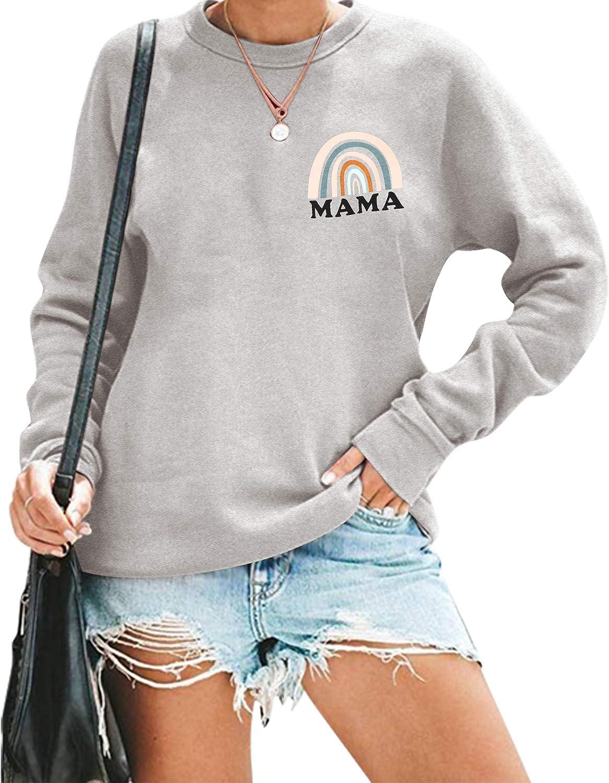 Mama Top Women Mama Sweatshirt Rainbow Graphic Shirt Long Sleeve Crew Neck Pullover Mom Blouse