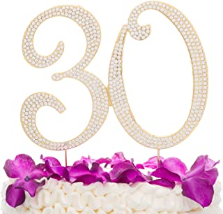 Ella Celebration 30 Cake Topper for 30th Birthday or Anniversary Gold Party Supplies & Decorations (