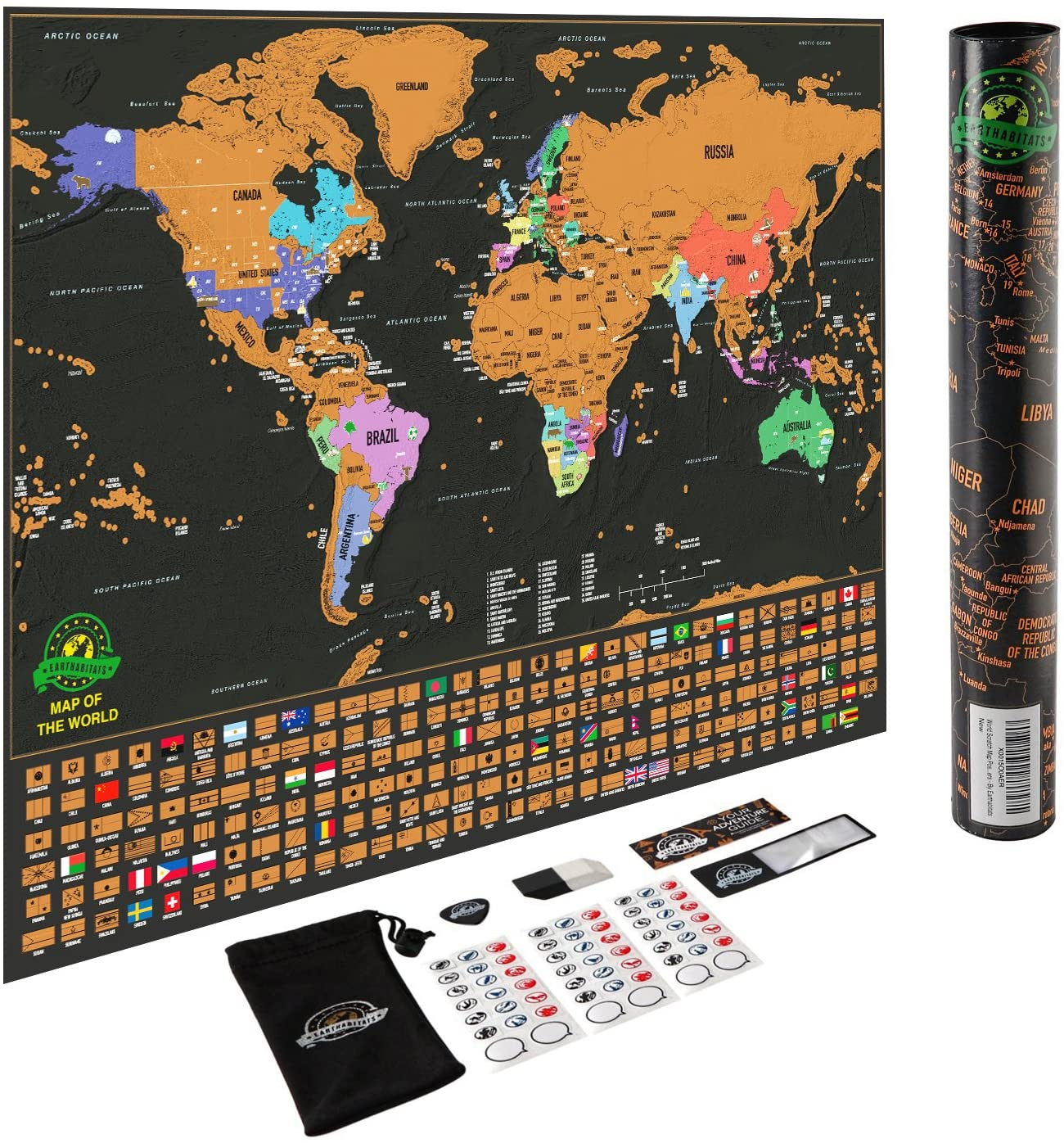 Scratch Off World Map Poster – Deluxe Travel Map, World Map Scratch Off with US States and Country Flags, Tracks Where You Have Been, Full Accessories Set, Perfect Gift for Travelers, by Earthabitats