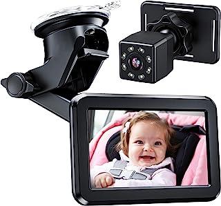 Itomoro - Espejo de coche para bebé, asiento trasero, cámara de coche con función de visión nocturna, pantalla de espejo de coche, soporte reutilizable para lechón, visión amplia, encendedor de cigarrillos de 12 V, observa fácilmente el movimiento del bebé
