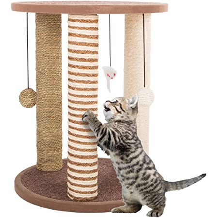 3 Scratching Posts Collection, Carpeted Base Play Area and Perch, Furniture Scratching Deterrent Tree for Indoor Cats