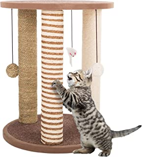 Cat Scratching Post Tower with 3 Scratcher Posts, Carpeted Base Play Area and Perch – Furniture Scratching Deterrent for I...
