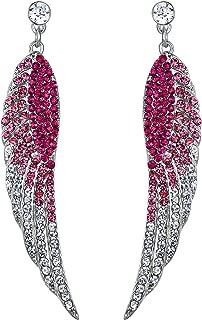 Austrian Crystal Bridal Angel Wing Dangle Earrings