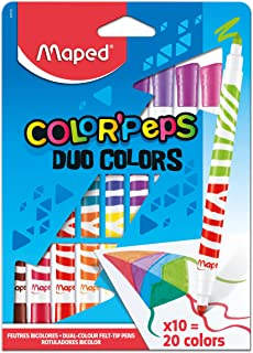 Maped Color'Peps Duo Tip Ultrawashable Markers, Assorted Colors, Pack Of 10 (847010)