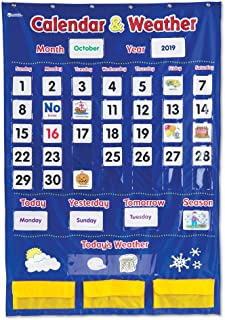 Learning Resources Calendar & Weather Pocket Chart, Classroom Organization, 136 Piece