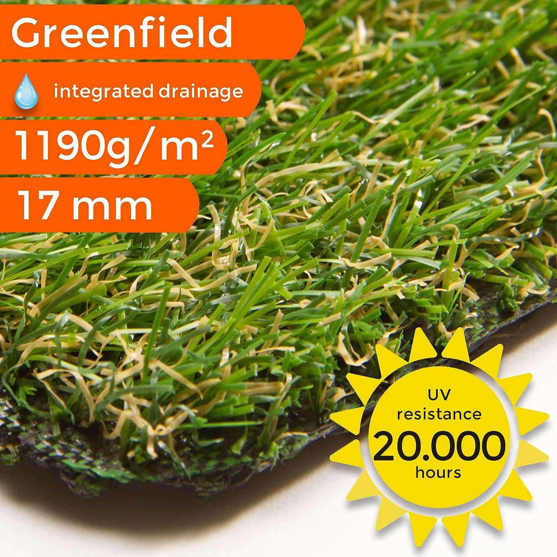 - 2,00 m x 1,00 m UV-Garantie 10 Jahre DIN 53387 Gewicht ca Kunstrasen Rasenteppich Lime f/ür Garten 2043 g//m/² Kunststoffrasen Rollrasen Florh/öhe 25 mm