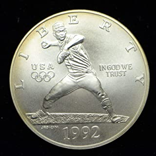 1992 D Olympic Baseball BU Commemorative Silver Dollar $1 Brilliant Uncirculated US Mint