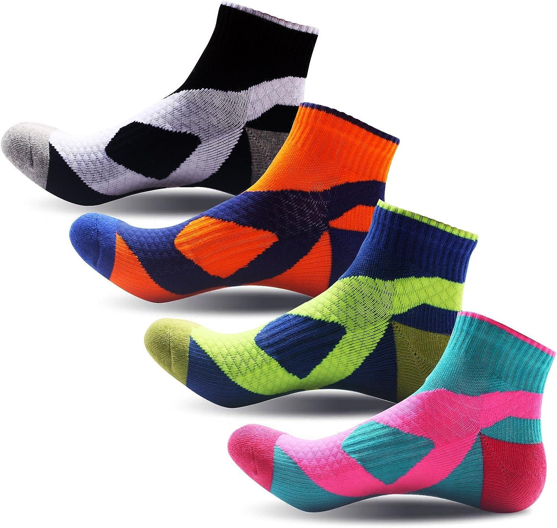 TuSocks Men's Cushioned Quarter Compression Socks 4 Pairs,Assorted color,7-10 shoe size