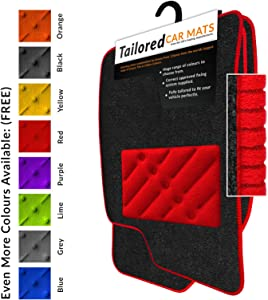 Car Mats Fit Focus MK3  2011-2015  Charcoal Tailored Car Mats with Red Trim  amp  Red Double Thickness Rectangle Heel Pad