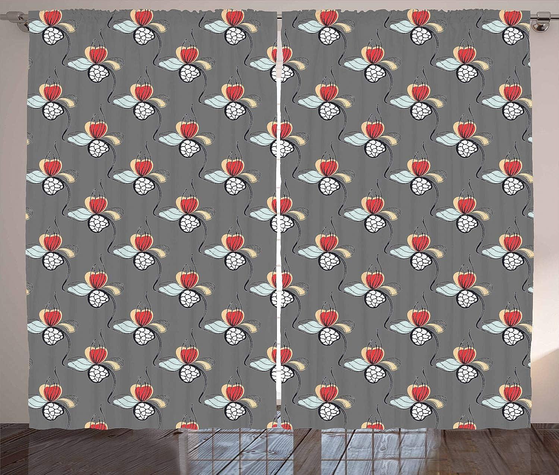 ABAKUHAUS Floral Cortinas, Extracto De Hierbas Motivos, Estampa Digital Resistente al Agua Colors Durables Set de Dos Paos, 280 x 175 cm