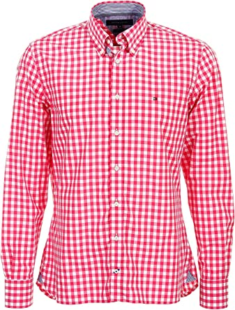 Tommy Hilfiger Brian Custom Fit - Camisa de cuadros para hombre, color rojo y blanco