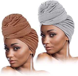 2 Pieces Stretch Head Wrap Scarf Stretchy Turban Long Hair Scarf Wrap Solid Color Soft Head Band Tie for Women (Brown, Light Gray)