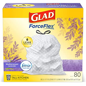 Glad OdorShield Tall Kitchen Drawstring Trash Bags, Febreze Mediterranean Lavender