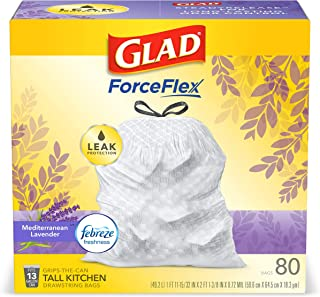 Glad ForceFlex Tall Kitchen Drawstring Trash Bags 13 Gallon White Trash Bag, Mediterranean Lavender scent with Febreze Fre...