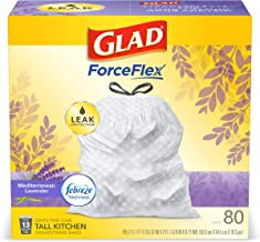 Glad OdorShield Tall Kitchen Drawstring Trash Bags, Lavender, 13 Gal, 80 Ct (Package May Vary), White
