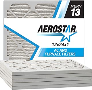 Aerostar 12x24x1 MERV 13 Pleated Air Filter, Made in the USA, 6-Pack