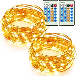 TaoTronics 33ft 100 LED String Lights Plug In 2 Pack Dimmable with Remote Control, Waterproof Decorative Lights for Bedroom, Patio, Garden Yard, Parties, Wedding(Copper Wire Lights, Warm White)