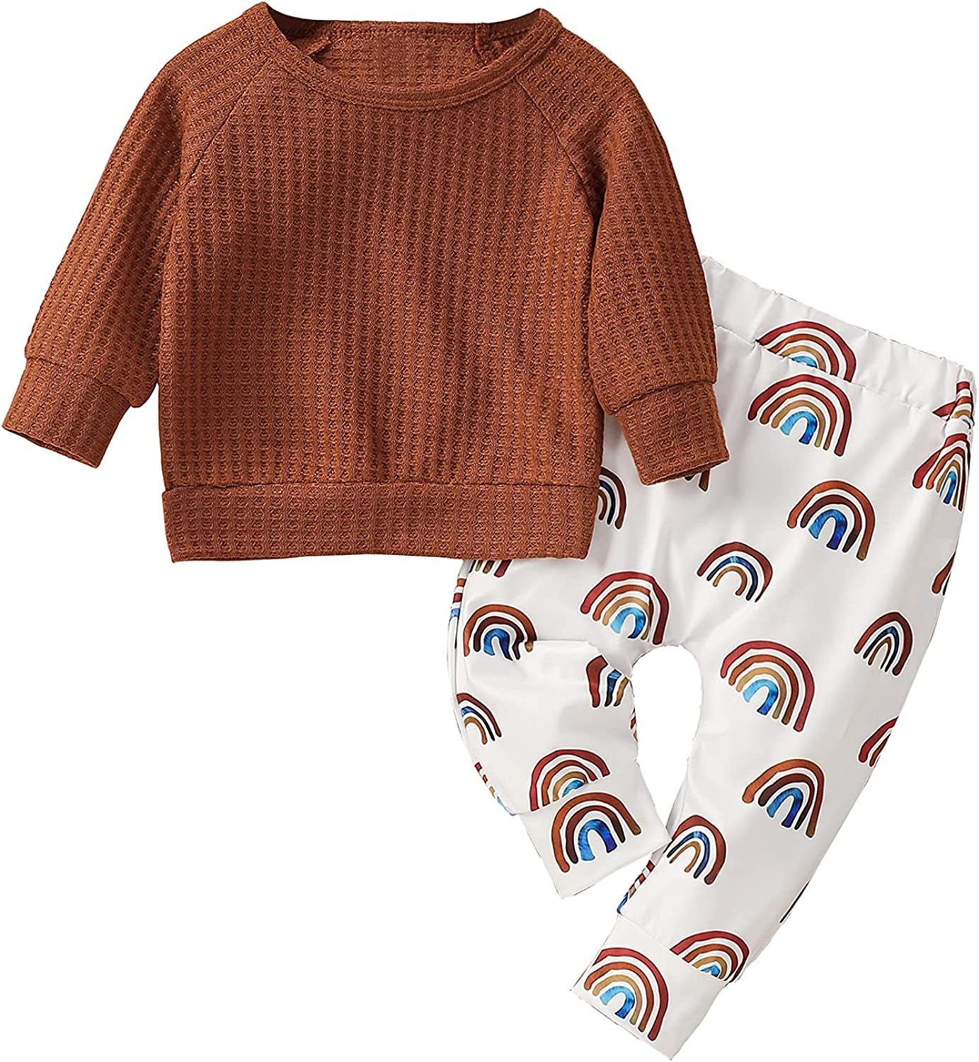 Newborn Baby Girls Fall Casual Clothes Sets Solid Knit Ribbed Tops+Rainbow Print Trousers Clothing Outfits