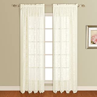 United Curtain New Rochelle Lace Window Curtain Panel, 56 by 84-Inch, Natural