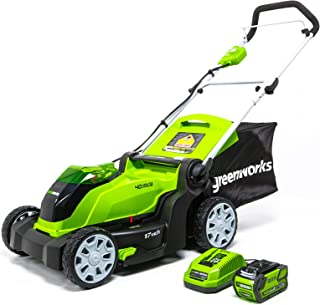 Greenworks 17-Inch 40V Cordless Lawn Mower, 4.0 AH Battery Included MO40B411