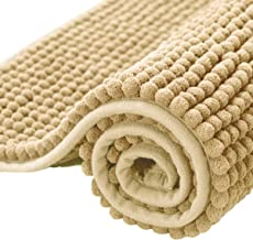 subrtex Bathroom Rugs Chenille Soft Short Plush Bath Mat Non-Slip Water Absorbent Shower Mat Quick Dry Machine Washable(Ye...
