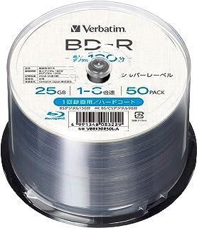 【Amazon.co.jp限定】Verbatim バーベイタム 1回録画用 ブルーレイディスク BD-R 25GB 50枚 1-6倍速 シルバーレーベル インデックスカード付き VBR130R50L-A