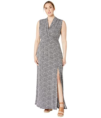 MICHAEL Michael Kors Plus Size Springtime Slit Maxi Dress (Black/White) Women