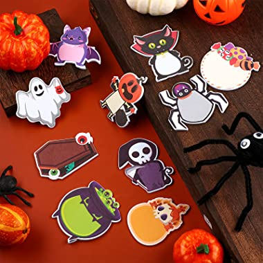Zonon 30 Pieces Halloween Sticky Notes Weird Spooky Sticky Notepad Spooky Characters Mini Cartoon Self-Adhesive Removable Not