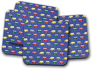 Posavasos azules con diseño de furgoneta camper multicolor, posavasos individuales o juego de 4