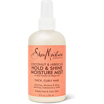 SheaMoisture Hold and Shine Moisture Mist for Thick, Curly Hair Coconut and Hibiscus for Frizz Control 8 oz