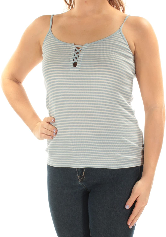 Denim & Supply Ralph Lauren Womens Striped Lace-Up Camisole Top Blue M