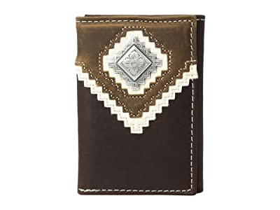 M&F Western Zigzag Overlay Trifold Wallet (Brown) Wallet Handbags