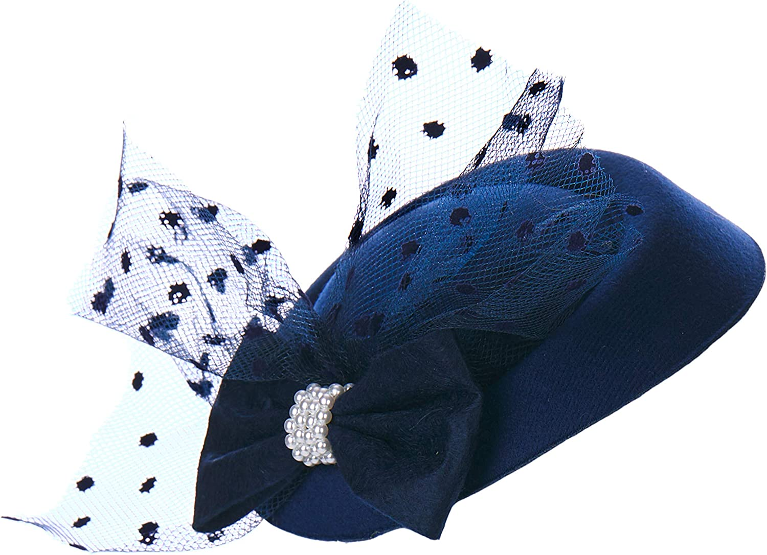 HMS LACE/Bow Fascinator, Navy, one Size