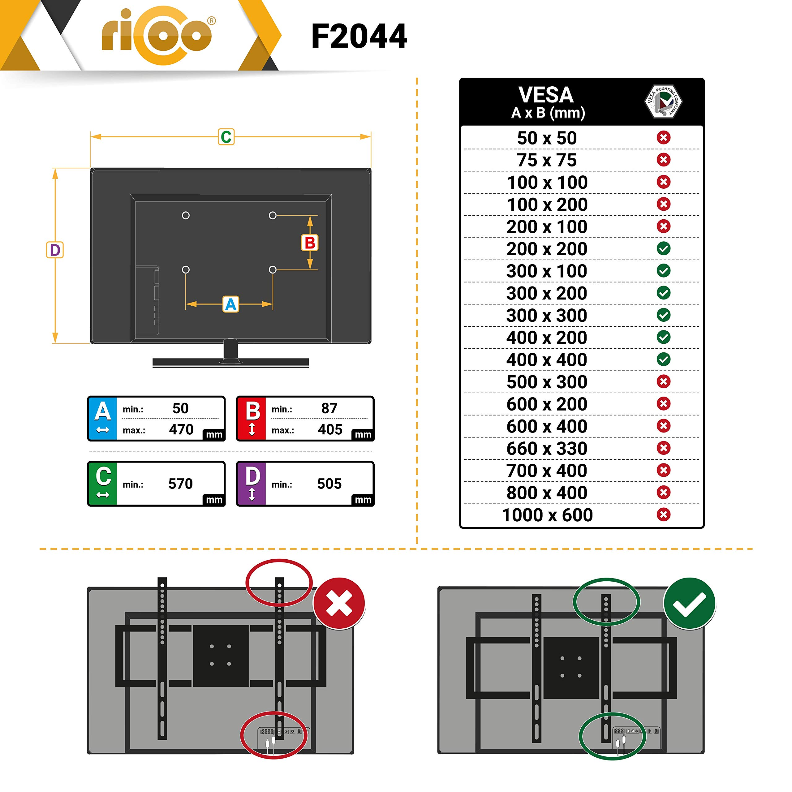 RICOO F2044, Soporte TV Pared, Fijo, Plano, Ultra Delgado, Televisión 32-55