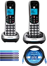 $49 » Motorola CD4012 DECT 6.0 Cordless Phones with Digital Answering Machine and Call Block (2-Pack) Bundle with Blucoil 10-FT ...