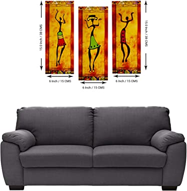 Indianara Set of 3 Folk Art 6 MM MDF Paintings (1692) Without Glass 6 X 15, 6 X 15, 6 X 15 INCH