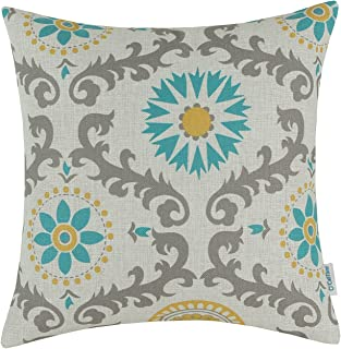 CaliTime Canvas Throw Pillow Cover Case for Couch Sofa Home Decoration Three-Tone Dahlia Floral Compass Geometric 18 X 18 Inches Turquoise/Yellow/Gray