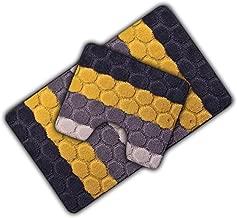 Velosso Non Slip Striped 2 Piece Bath Mat & Pedestal Mat Multi Hex Stripes (Grey/Yellow)