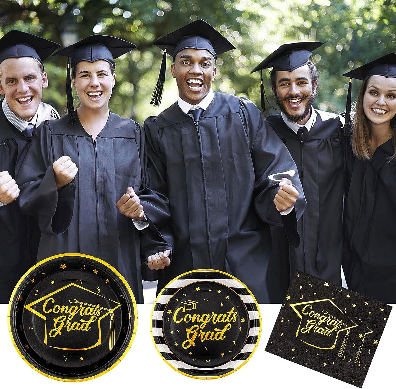Serve 30 Graduation Party Supplies Congrats Grad Plates and Napkins Graduation Disposable Dinnerware Set with Congrats Grad Banner Balloons for Graduation Party