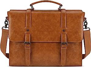 Leather Mens Messenger Bag Vintage 15.6 Inch Waterproof Leather Laptop Briefcase Large Satchel Shoulder Bag Retro Office C...