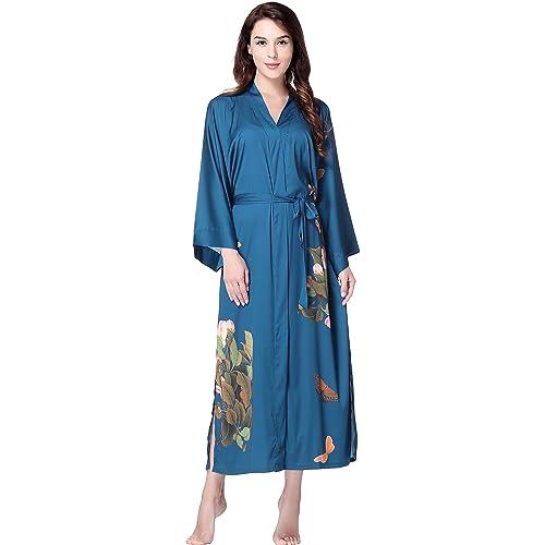 ArtiDeco Women s Kimono Dressing Gown Satin Kimono Robe Long Chinese  Japanese Style for Nightwear Girl s Bonding 62da96fbd