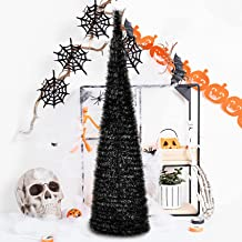 YUQI 5' Slim Black Tinsel Pop-Up Artificial Halloween Christmas Tree,Collapsible Pencil Halloween Christmas Trees Features...
