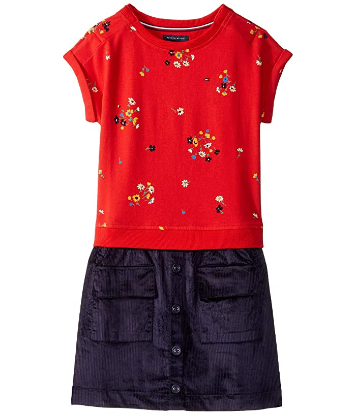 Tommy Hilfiger Adaptive  Dress with VELCRO Brand Closure at Shoulders (Little Kids/Big Kids) (High Risk Red/Multi/Evening Blue) Womens Clothing