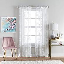 Curtainworks Sibella Lace Sheer Window Curtain Rod Pocket, 84-inch Panel Pair, White